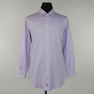 David Donahue Trim Dress Shirt Purple 16.5 X 32/33